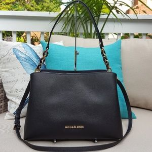 NWT Michael Kors LG Sofia Satchel bag purse Black